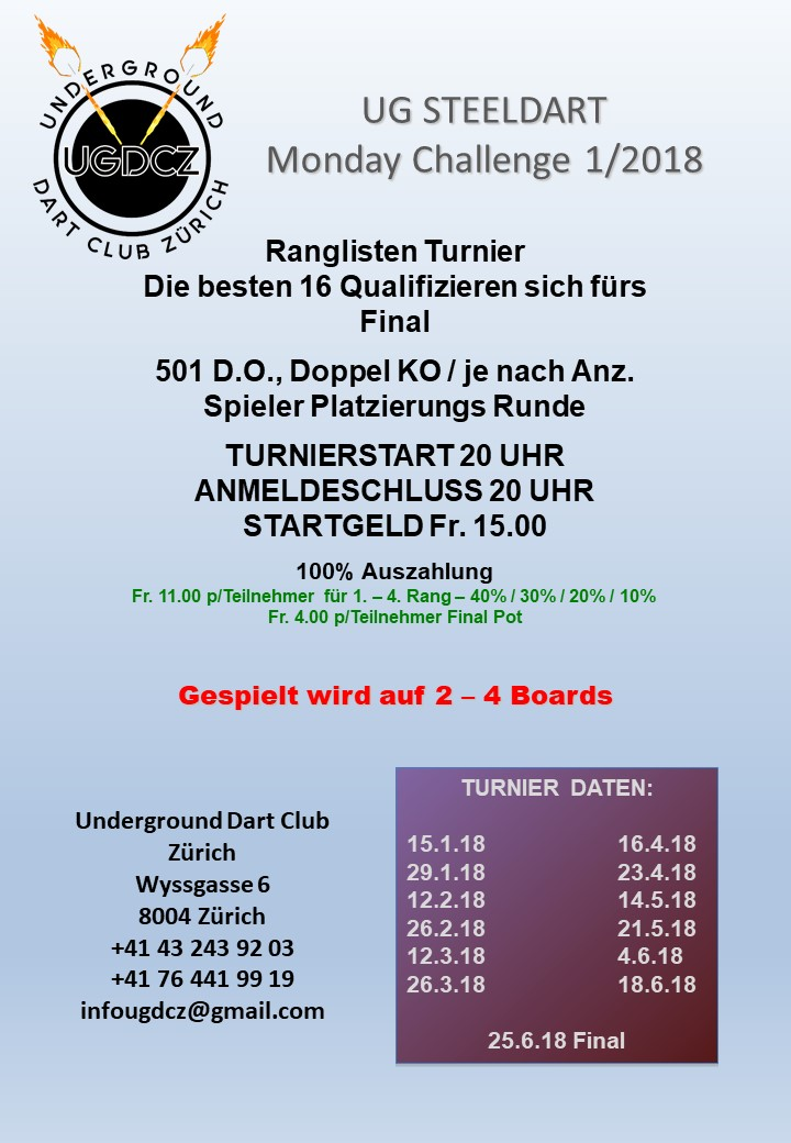 Flyer UG Steel Dart Turnier 2018